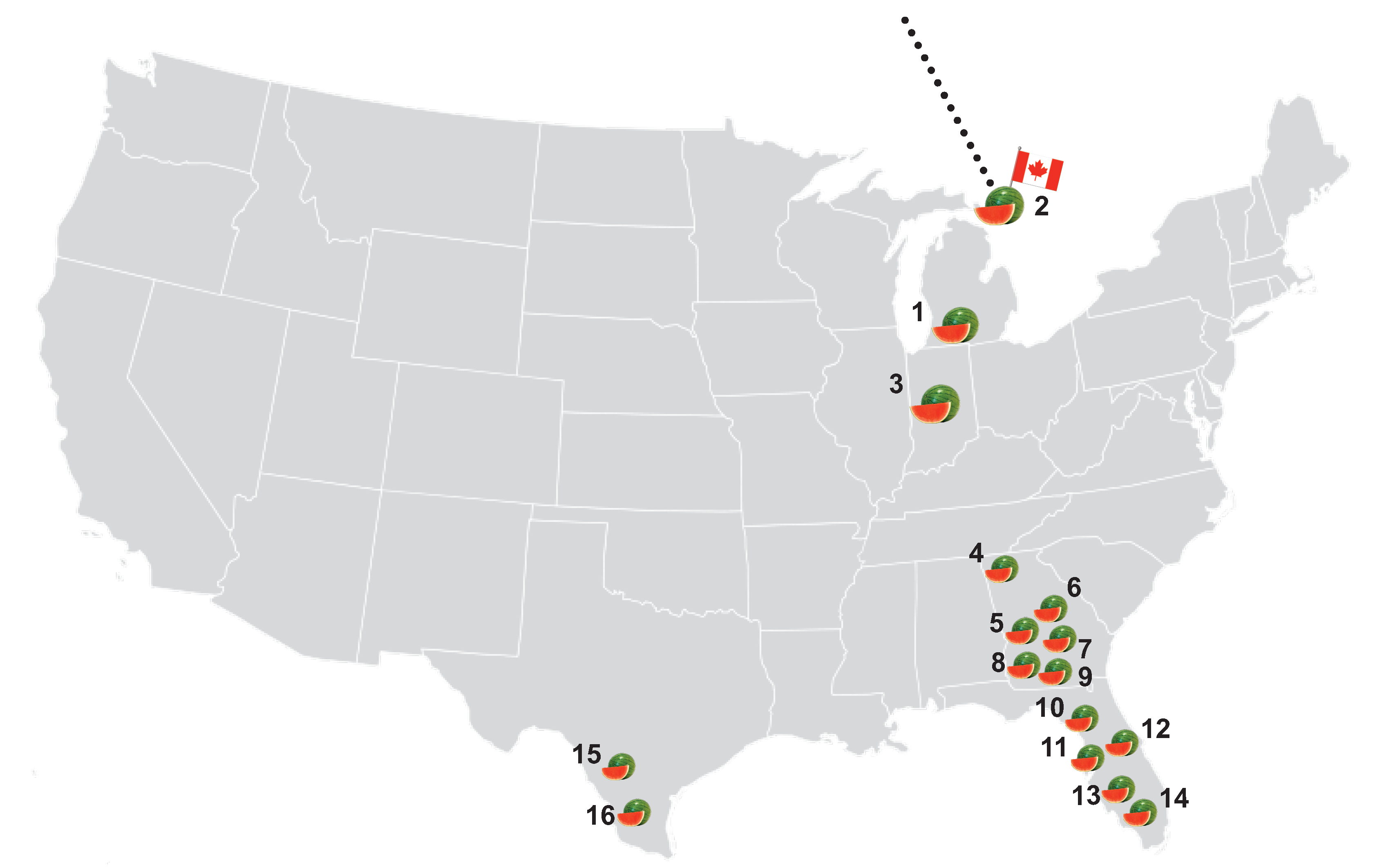 A graphical map of SowLogic greenhouses in the United States
